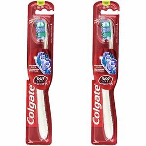 Pack of (2) New Colgate 360 Optic White Full Head Toothbrush, Medium