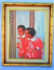 African American Girl in Mirror by Ida Jackson - Framed Lithograph on Canvas