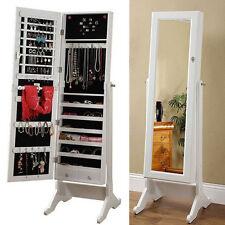 White Mirror Jewellery Cabinet Makeup Storage Jewelry Organiser Box Tall 146cm