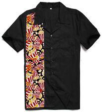 Mens 50's Rockabilly Novelty Bowling Shirts Cotton Top Black Camp Shirts