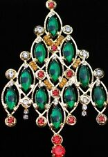 "GOLD TONE PRONG GREEN MARQUISE RHINESTONE CHRISTMAS TREE PIN BROOCH 4""DANGLES"