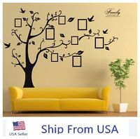 Large Family Tree Wall Decal Black Sticker Vinyl Photo Picture Frame Removable-X