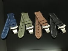 24mm Canvas Stitch Calf  Watch Band Strap fits for Panerai New Deployment Clasp