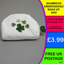 New Embroidered Shamrock Make up bag Pouch gift Ireland Irish Celtic S260