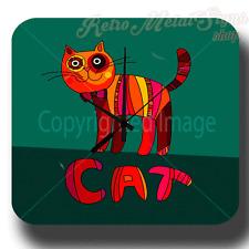 CAT  RETRO VINTAGE METAL TIN SIGN STYLE WALL CLOCK