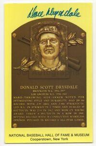 Don Drysdale - Baseball Hall of Fame - Autographed Yellow HOF Plaque Postcard