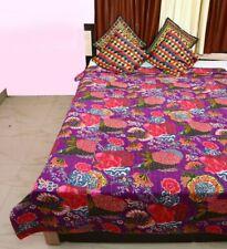 Twin Bedspread Hand Block Cotton Quilt Kantha-Stitched Throw Bedding/Coverlet
