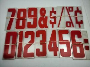 Vintage Plastic Acrylic Red Marquee Sign Numbers Full Set Symbols Bundle 9x4in