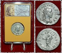 ANCIENT COIN Philip II Holding Spear and Globe On Reverse Silver Antoninianus