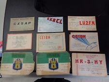 Vintage Lot-13 1946-48 South American Ham Radio Cards Peru, Chile, Colombia etc.