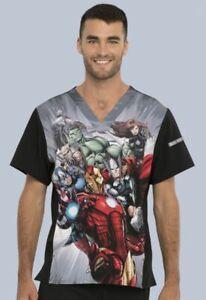 Avengers Cherokee Scrubs Tooniforms Marvel Mens V Neck Top TF708 MAIT