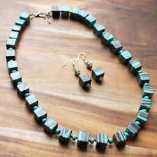 58cm Blue Malachite Semi Precious Square Stone Necklace with matching Earrings