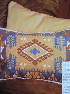 Embroidered Turkish Kelim Design Cushion Sewing Pattern And Chart