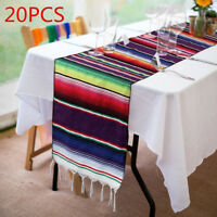 20pcs Mexican Serape Table Runners Fringe Cotton Tablecloth Decor Festival Party