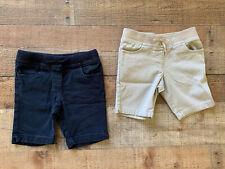 Lot Of 2 Chaps Girls Size 4 School Uniform Shorts Tan Khaki Navy Elastic Waist