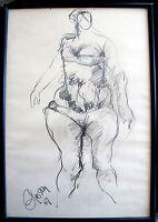 Original Female Nude Drawing by Lloyd Glasson Signed Fine Art