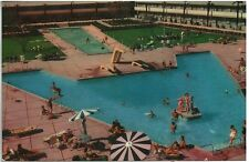 Vintage Las Vegas Dunes Hotel Pool 1950s Color photo postcard