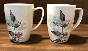 Set of 2 Corelle Coordinates Fine Porcelain Floral Zen Kyoto Nights Pattern Mugs