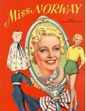 Vintage 1960s Miss Norway Paper Dolls ~ Rare Cute~ Uncut Laser Reproduction