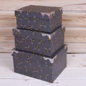 Bees Storage Boxes 3 sizes 20.5cm 18.5cm 16.5cm Gorgeous quality New