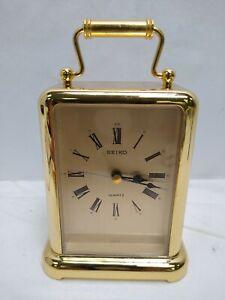 Seiko Carriage Desk/Table Clock, Gold-Tone, batt operated (1AA), Quartz, QEJ145G