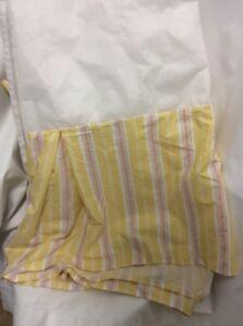 "RALPH LAUREN BEDSKIRT KING yellow white candy stripe 16"" drop split corners"