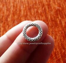 10 Spacer Large Hole Beads  14mm Braided Soldered Closed Jump Rings Silver C349