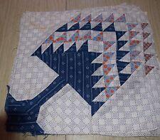 12 1890-1920ish Pine Tree quilt blocks, beautiful indigo, shirtings