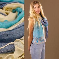 Soft Blue Cream Stripe Large Scarf Sarong or Wrap Light 80% Cotton 170x63cm