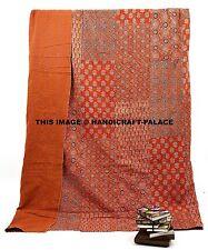 Block Print Kantha Quilt Indian Patchwork Gudari Ethnic Ralli Bedspread Throw