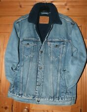 Mens Levi's Sherpa Fleece  Blue Mid Wash Denim Jacket Size Medium YOUTH