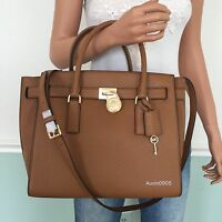 NEW! MICHAEL KORS Brown Hamilton Traveler Large Leather Shoulder Bag Tote Purse