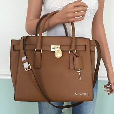 cd9fe08d7754 MICHAEL KORS Brown Hamilton Traveler Large Leather Shoulder Bag Tote Purse