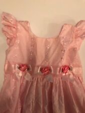 Girl's cotton eyelet dress by Jona Michelle pink, rosettes and ribbon detail sz4