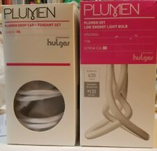 PLUMEN E26 Metal Drop Cap Pendant Set color WHITE PLUS 001 Light Bulb NEW NIB