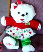 "2014 WalMART CHRISTMAS Snowflake TEDDY BEAR White Girl 20"" Red/Green Dress NWT."