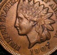 OLD US COINS 1907 UNC INDIAN HEAD CENT PENNY FULL LIBERTY BEAUTY