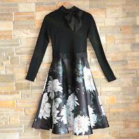 New Ted Baker Black Jordynn Clove Tie Neck Long Sleeve Mockable Dress