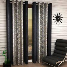 New 4 Piece Eyelet Door Curtain Set - 7 feet Dark Grey