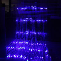 3mX3m Waterfall Curtain String Light 300LED Icicle Party Xmas Christmas blue