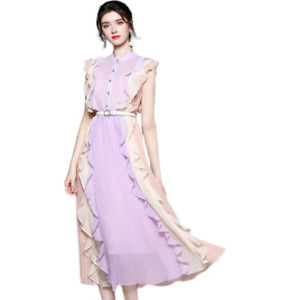 Womens Occident Slim Fit Temperament Flounce Chiffon Pleated Sleeveless Dresses