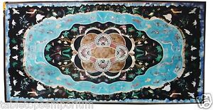 2.5'x5' Marble Dining Table Top Turquoise Gems Inlay Marquetry Home Mosaic Décor