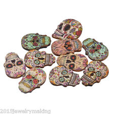 Hot 50PCs Wooden Buttons 2-Hole Craft Skull Skeleton Scrapbooking Sewing Knit