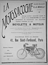 PUBLICITÉ DE PRESSE 1907 LA MOTOSACOCHE BICYCLETTE A MOTEUR - ADVERTISING