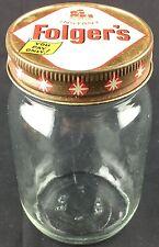 Vintage Folger's Instant Coffee Crystals Glass Jar Metal Lid Ship Logo Stars