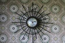 Vintage Starburst Clock, Small Working Sunburst Kitchen Clock, Midcentury Retro