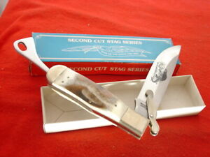 """Parker Japan Made K419 Second Cut Stag 6.5"""" folding safety knife MINT IN BOX"""