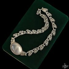 Antique Vintage Nouveau Sterling 835 Silver Austrian Filigree Moonstone Necklace