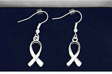 Silver Ribbon Dangle Earrings Cancer Support Awareness Gift Box Ideas