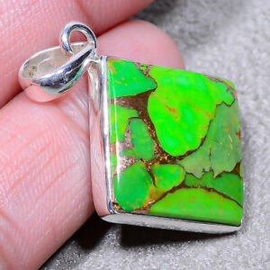 """Copper Green Turquoise - Arizona Solid 925 Sterling Silver Pendant 1.56"""" SP-243"""